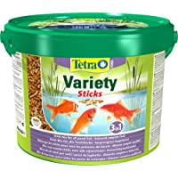 Tetra Pond Variety Sticks Fish Food, Mix of Three Different Food Sticks for All Pond Fish, 10 Litre