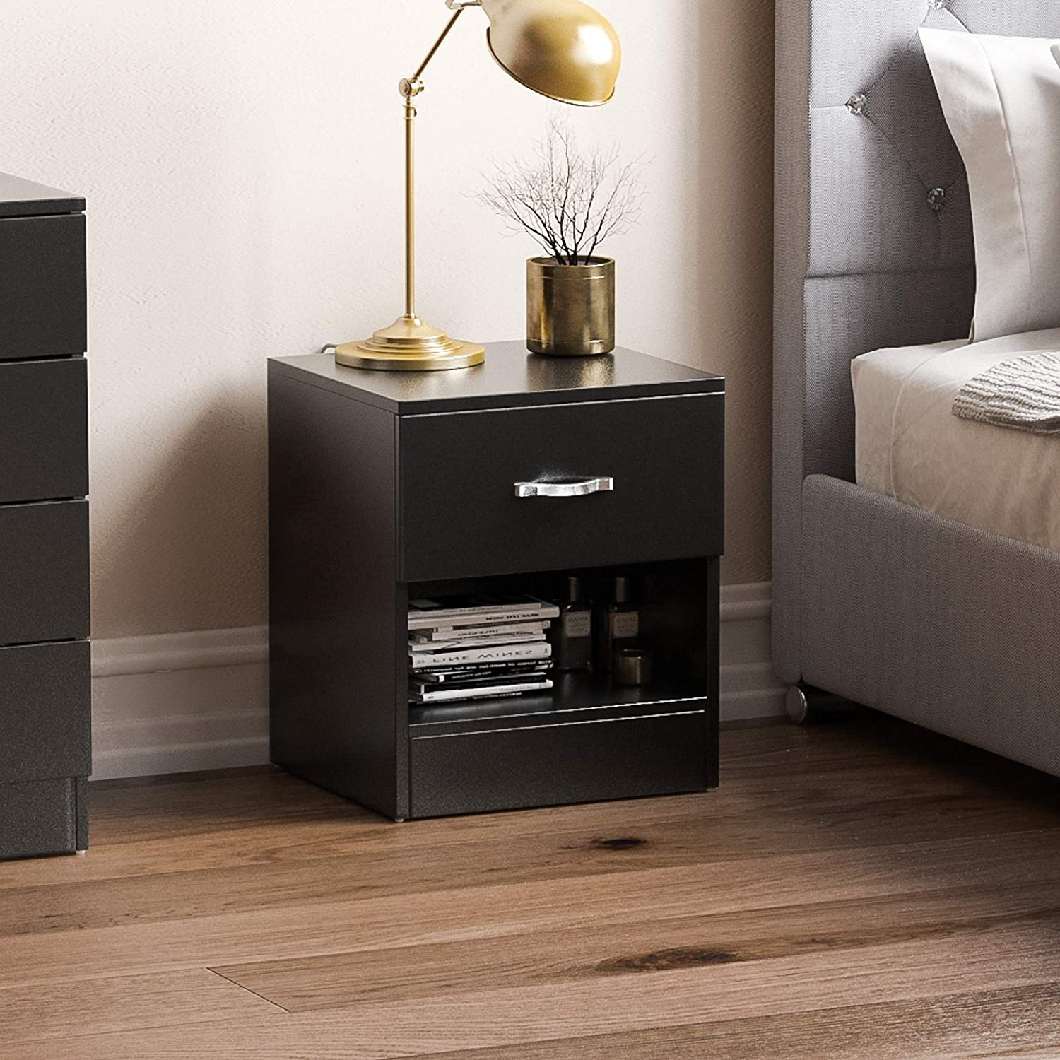Vida Designs Black Bedside Cabinet 1 Drawer With Metal Handles And Runners Unique Anti Bowing Drawer Support Riano Bedroom Furniture Amazon Co Uk Kitchen Home