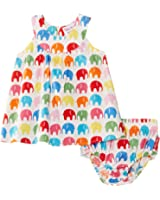 Toby Tiger Baby-Girls Cotton Baby Elly with Frilly Pants Set Dress