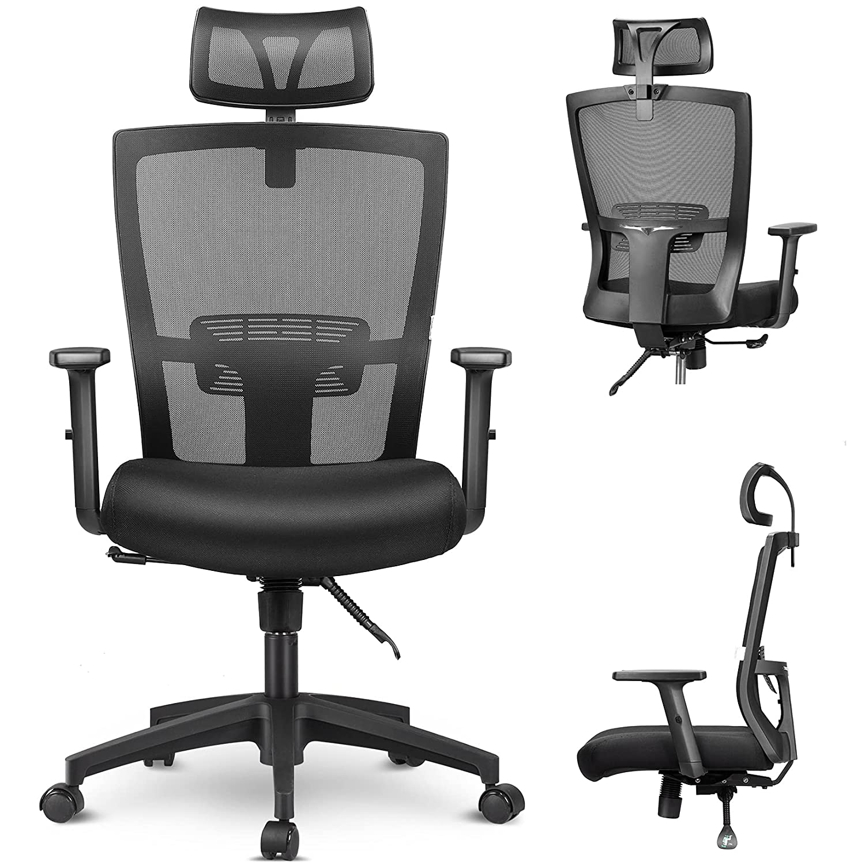 mfavour Ergonomiczne krzesło biurowe z siatki wytrzymałe krzesło biurowe, regulowany zagłówek i podłokietnik, krzesło do biura domowego z funkcją przechylania i zamkiem pozycyjnym
