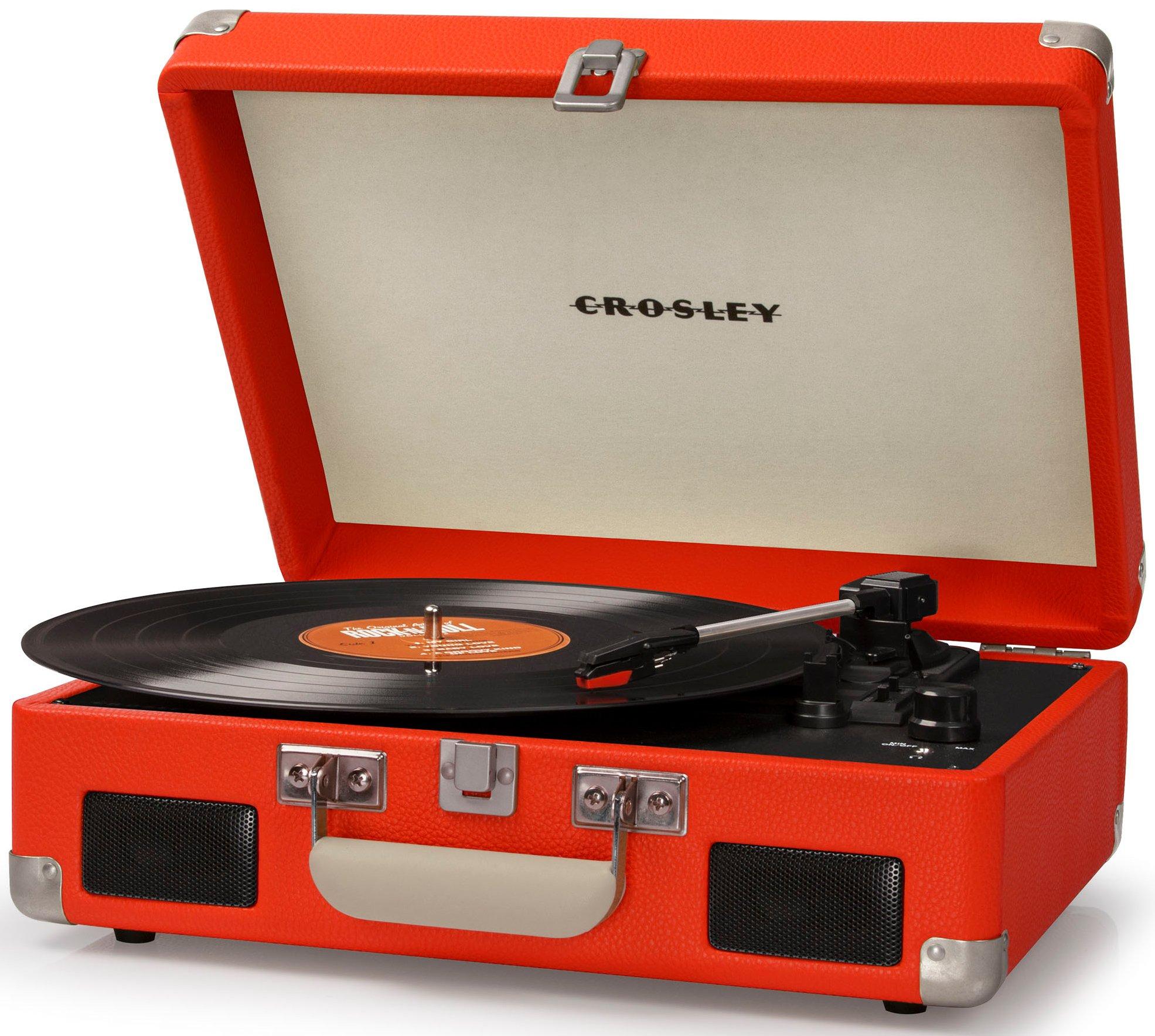 Crosley CR8005C-OR Cruiser II Portable Battery Powered 3-Speed Turntable, Orange by Crosley (Image #1)
