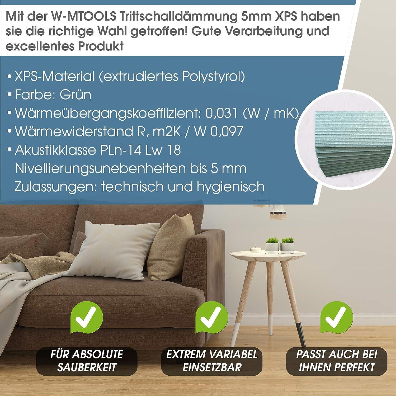 XPS I inkl w-mtools/® Laminat Trittschalld/ämmung 5 mm D/ämmung 40m/² Boden D/ämmplatten Parkett Anleitung /& Ratgeber I Zertifiziert 5mm