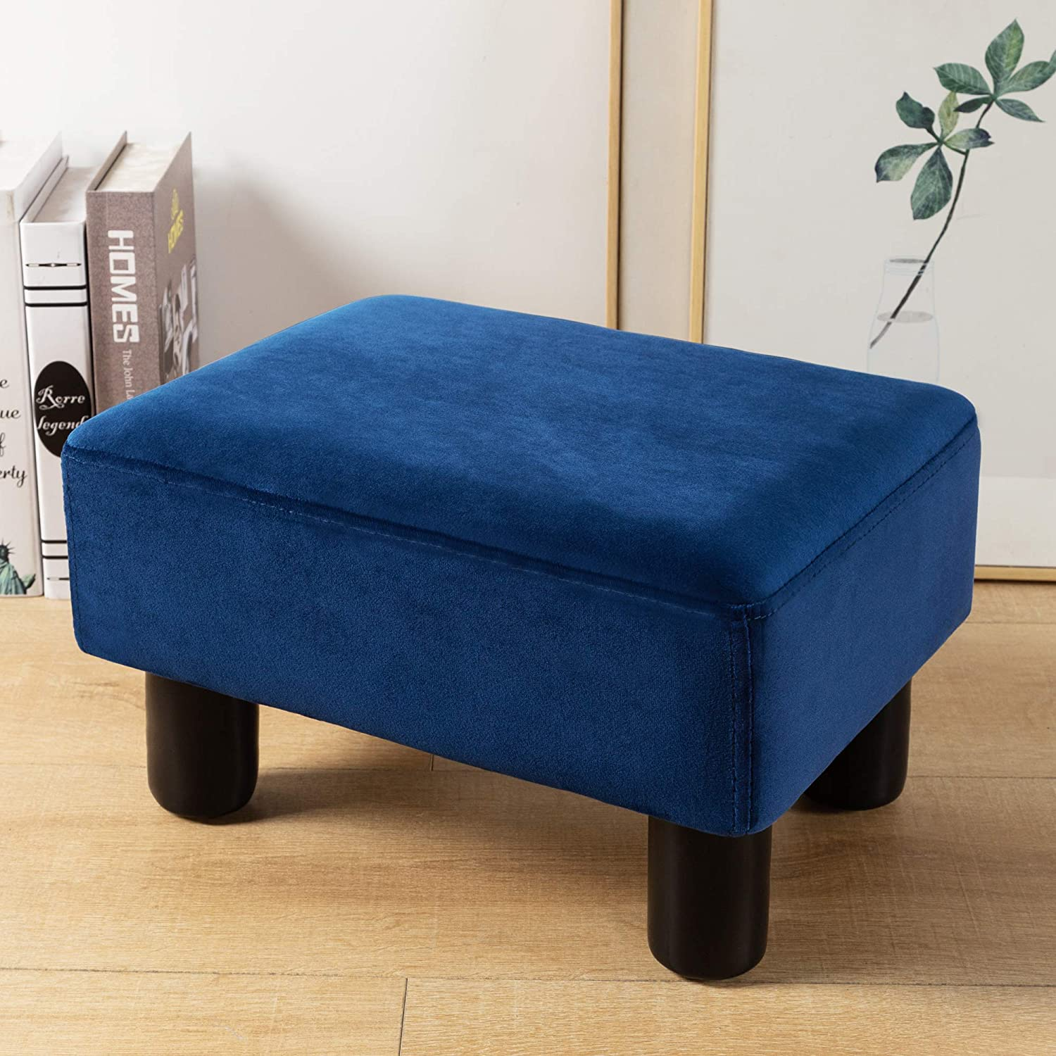 Small Rectangle Foot Stool, Navy Velvet Fabric Footrest Small Ottoman Stool with Non-Skid Plastic Legs, Modern Rectangle Footstools Small Step Stool Ottoman for Couch, Desk, Office, Living Room, Dogs