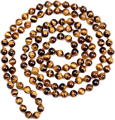 LONG 36 INCHES GENUINE NATURAL TIGER EYE GEMS STONE OVAL BEADS NECKLACE