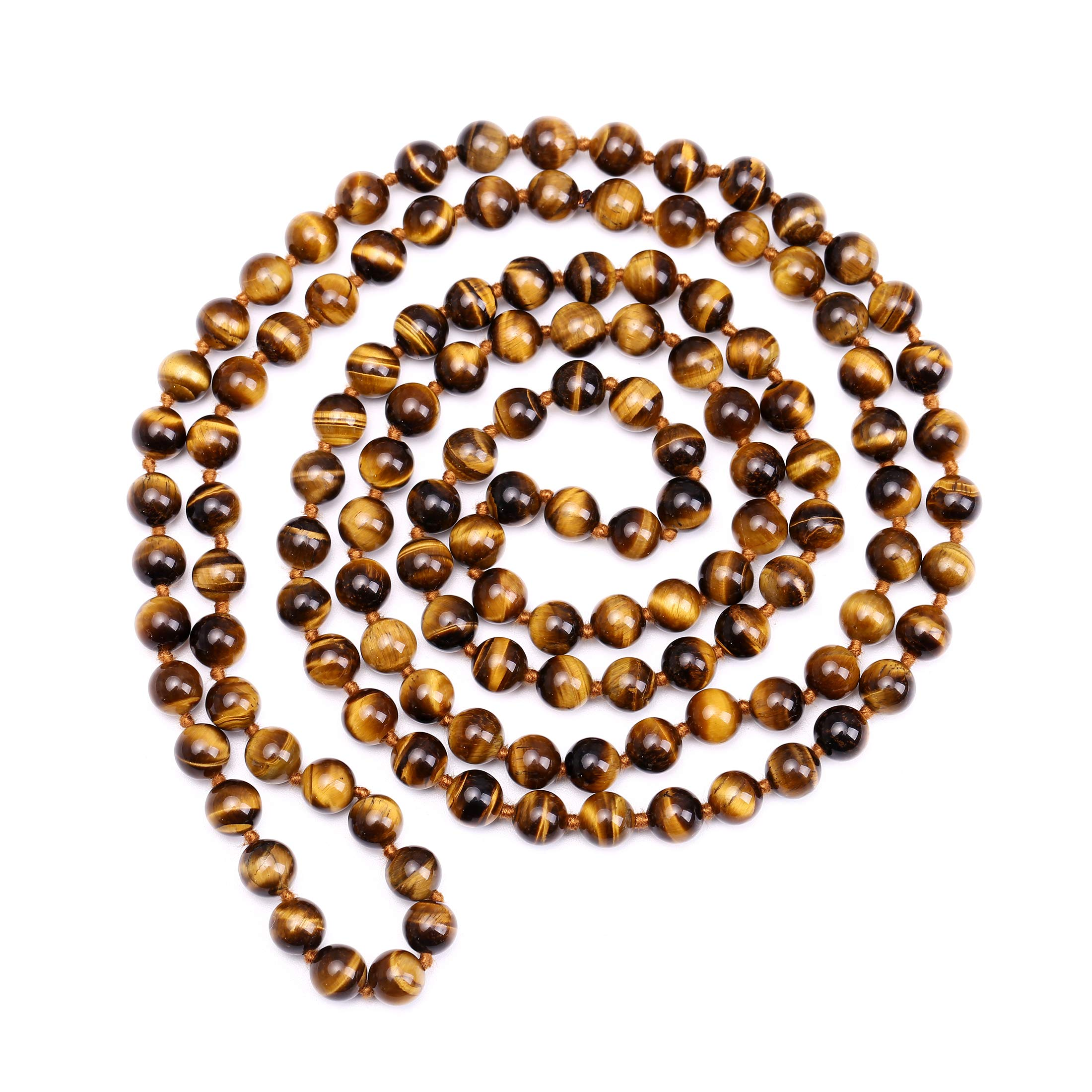 Tiger Eye Long Beaded Necklace Natural Stone Jewelry for Women Men Gold Wrap Bracelet