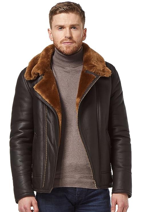 Mens RAF B3 Real Sheepskin Shearling Jacket Pilot Flying Leather Ginger Fur NV49 at Amazon Mens Clothing store: