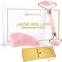 Soaab Rose Quartz Jade Roller and Gua Sha Massage Set Anti Aging Wrinkle Reduction Facial Roller for Face,Eyes,Neck…