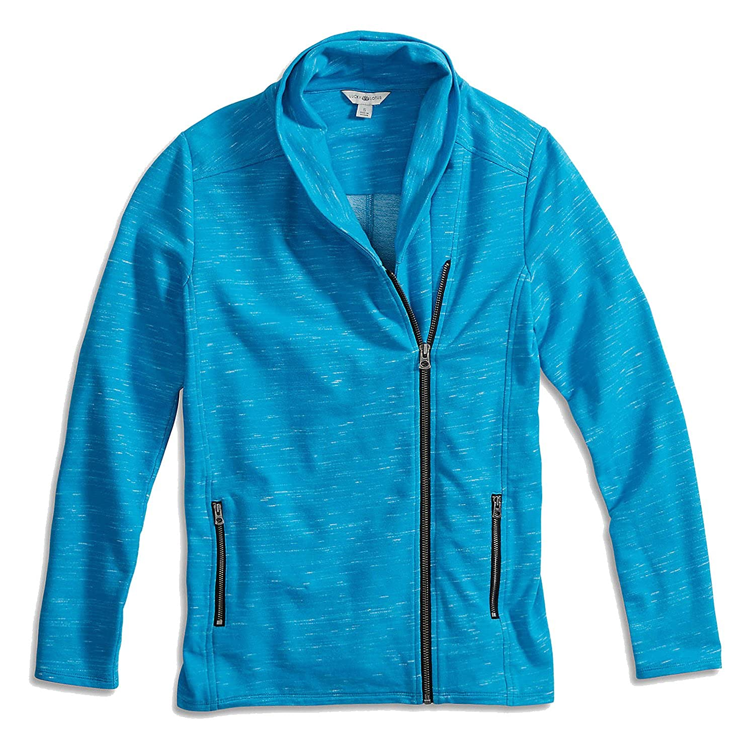 Lucky Brand Women's Space Dye Asymmetric Zipper Sweatshirt Jacket