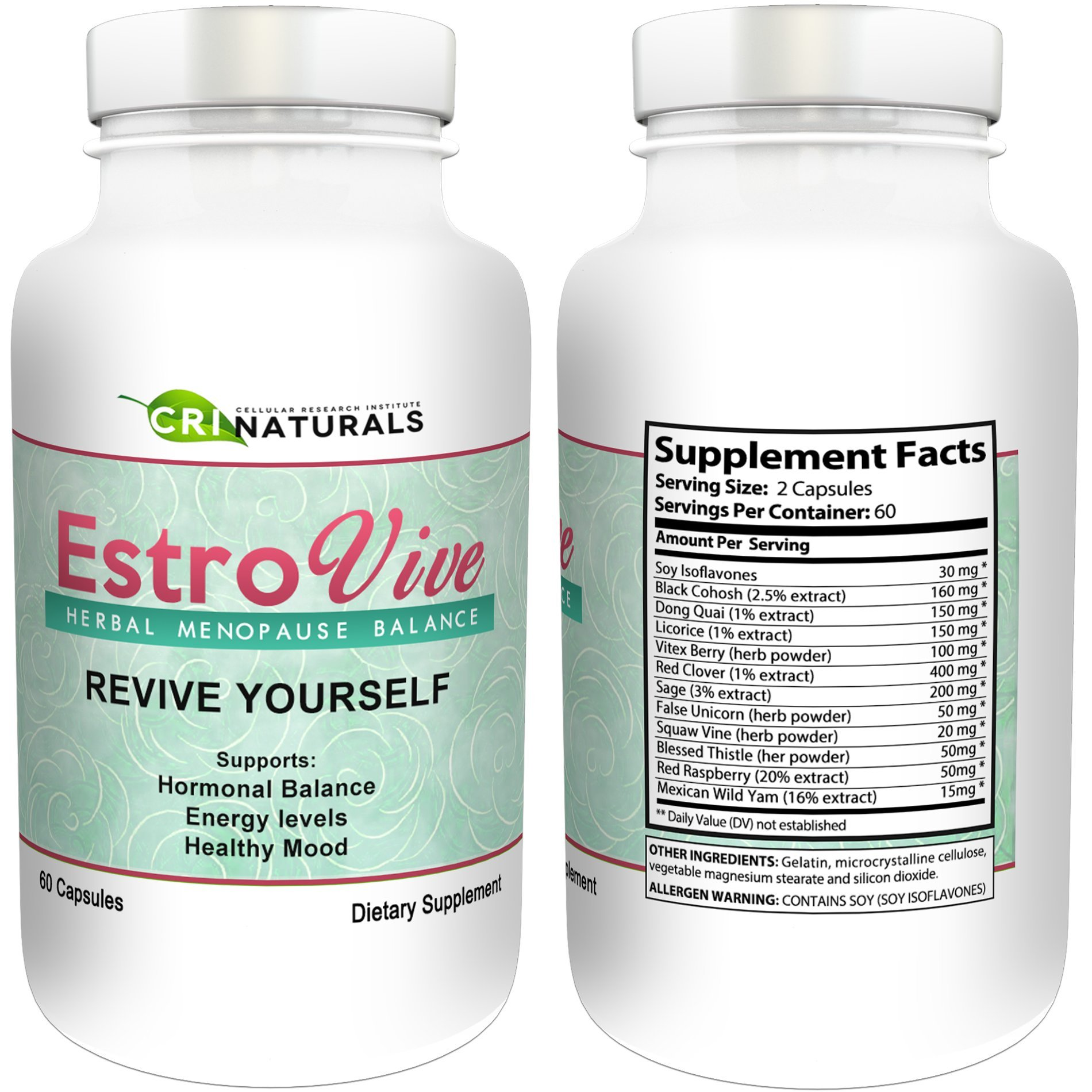 Estrovive - Hot Flashes Menopause Relief - Black Cohosh Menopause Complex - Sleeping Pills - Hot Flash Relief (2-pack) by CRI Naturals (Image #7)