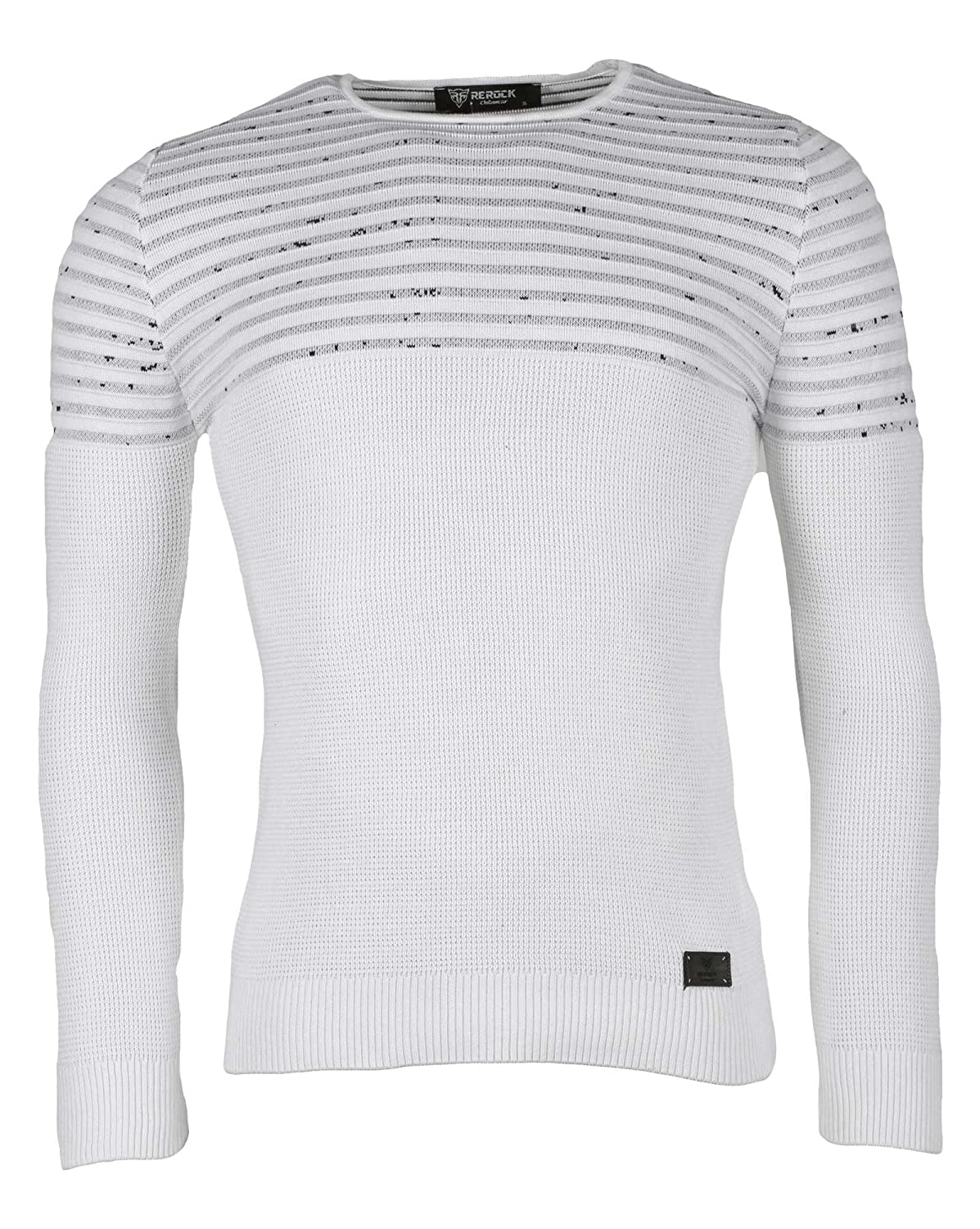 BLZ jeans - fine white sweater with contrasting ribs