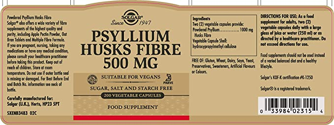Solgar Fibra de cáscaras de Psyllium 500 mg Cápsulas vegetales - Envase de 200: Amazon.es: Salud y cuidado personal