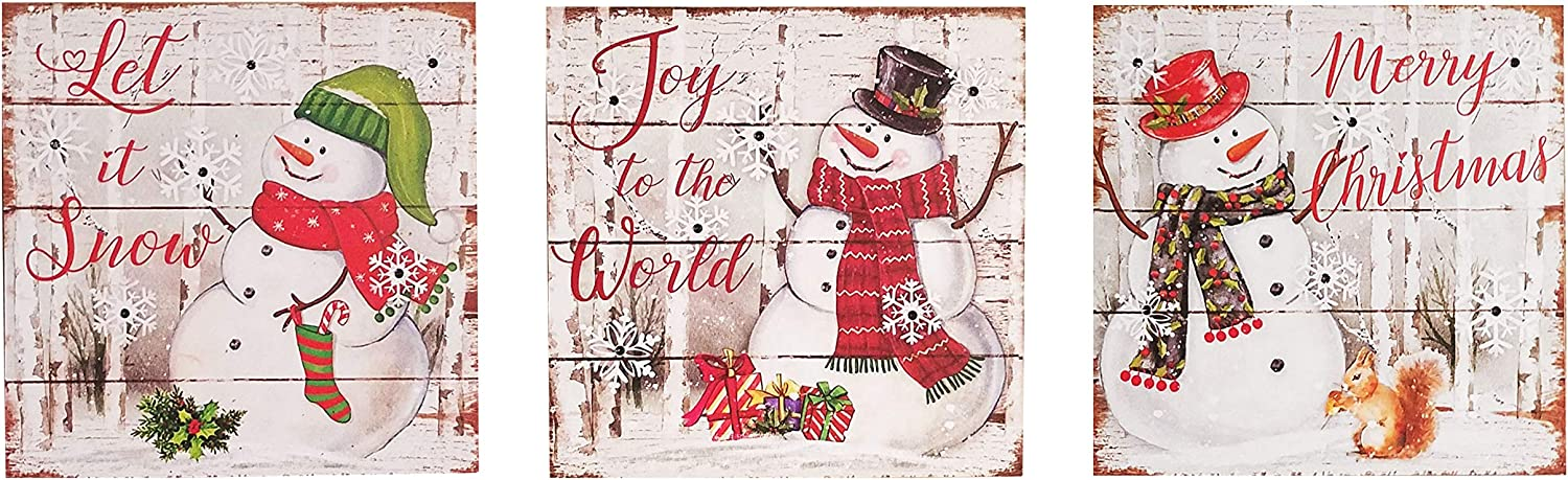 OSW LED Lighted Snowman and Snowflakes Wooden Christmas Decor Wall Art Hanging or Tabletop Display, Set of 3, Battery-Operated Light-Up Holiday Decoration Plaques with Auto Timer