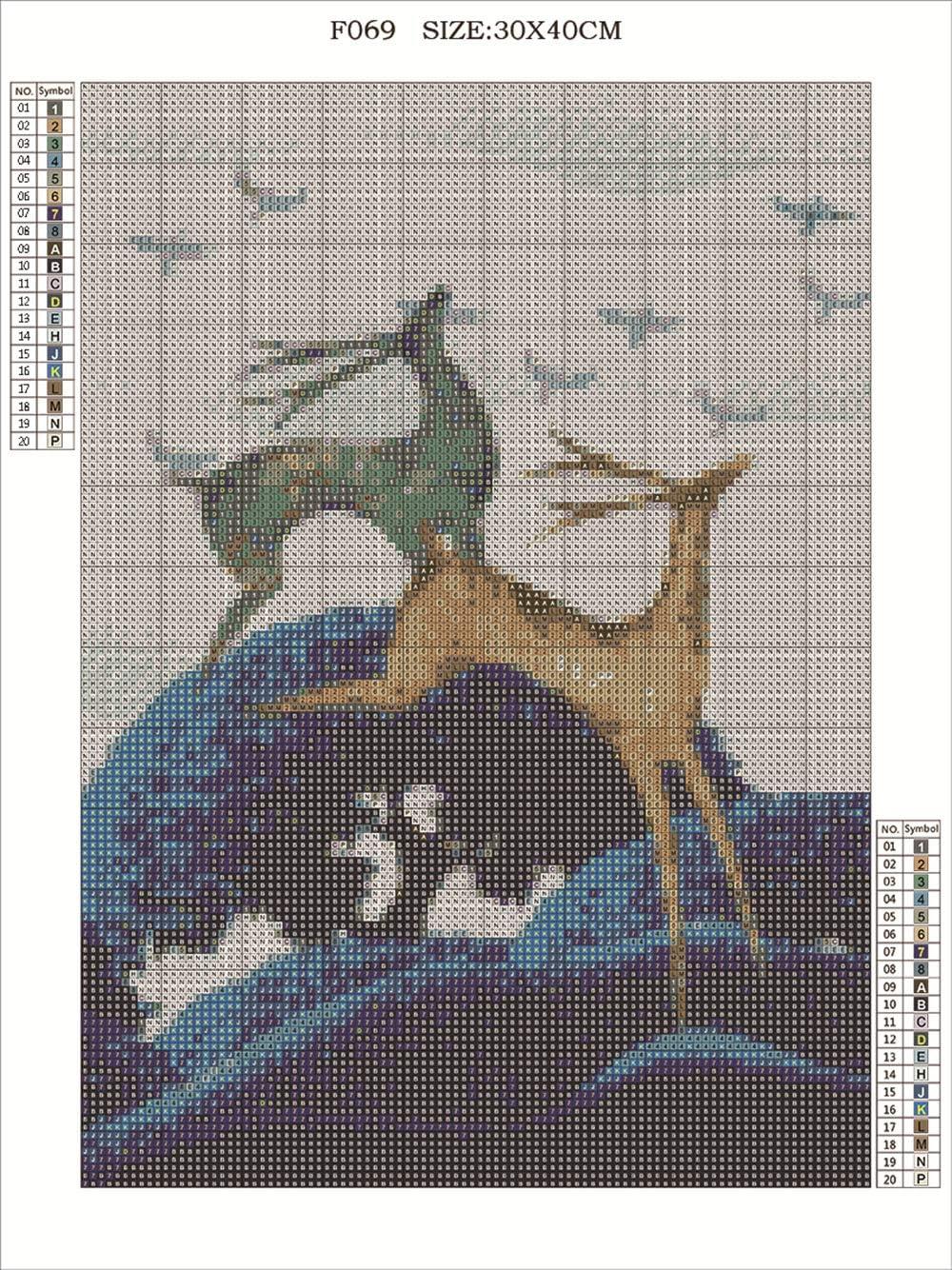 30 x 40 cm papier d/écoup/é Antelope d/écoration murale toile Kit de peinture diamant carr/é 5D DIY par num/éro kit mosaique adulte strass broderie au point de croix ornements loisirs cr/éatifs