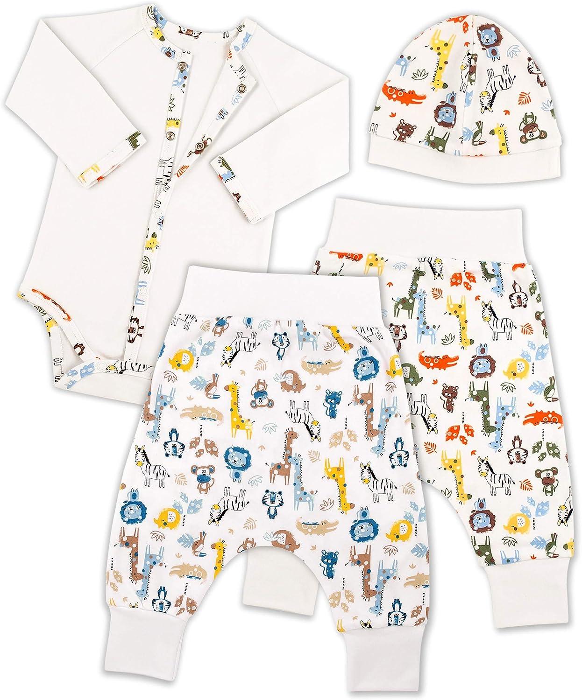 Bernisa Baby Boys' Girls' Unisex Design 4-Piece Newborn Outfit to 6 Months Cap 2 Pants Long Sleeve Bodysuit