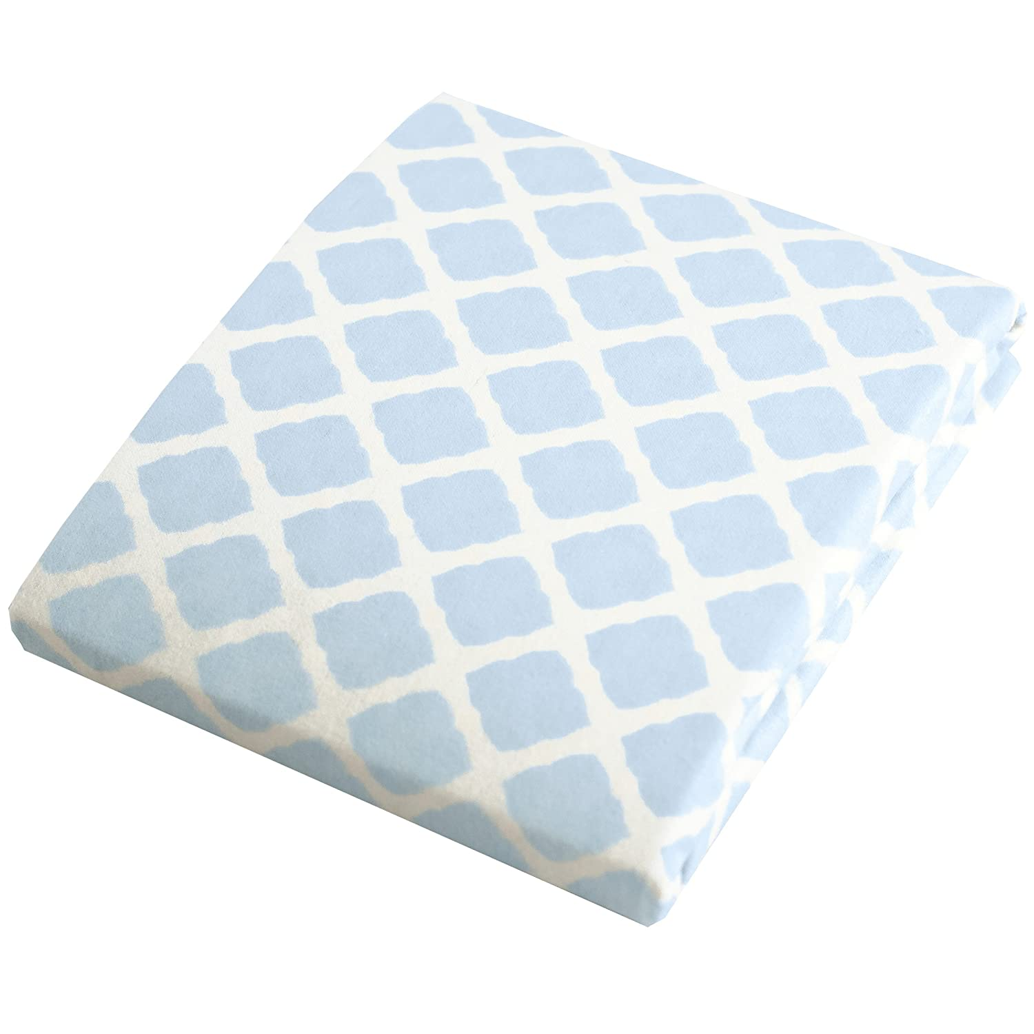 Kushies Changing Pad Cover for 1 pad, 100% breathable cotton, Made in Canada, Blue Lattice Kushies Baby S340-585
