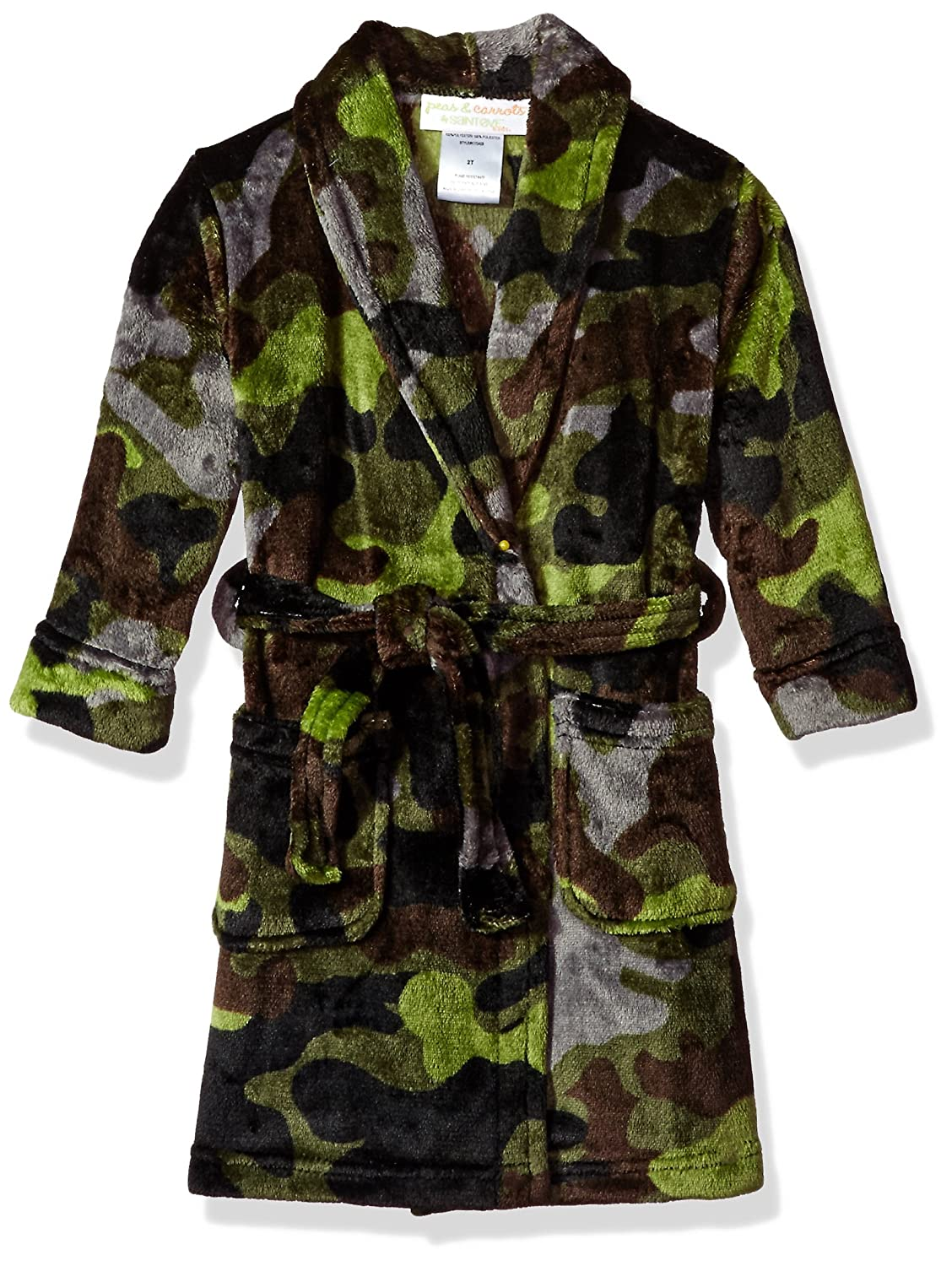 Toddlers Size 3T Komar Kids Peas /& Carrots Toddler Boys Camo Velvet Fleece Robe