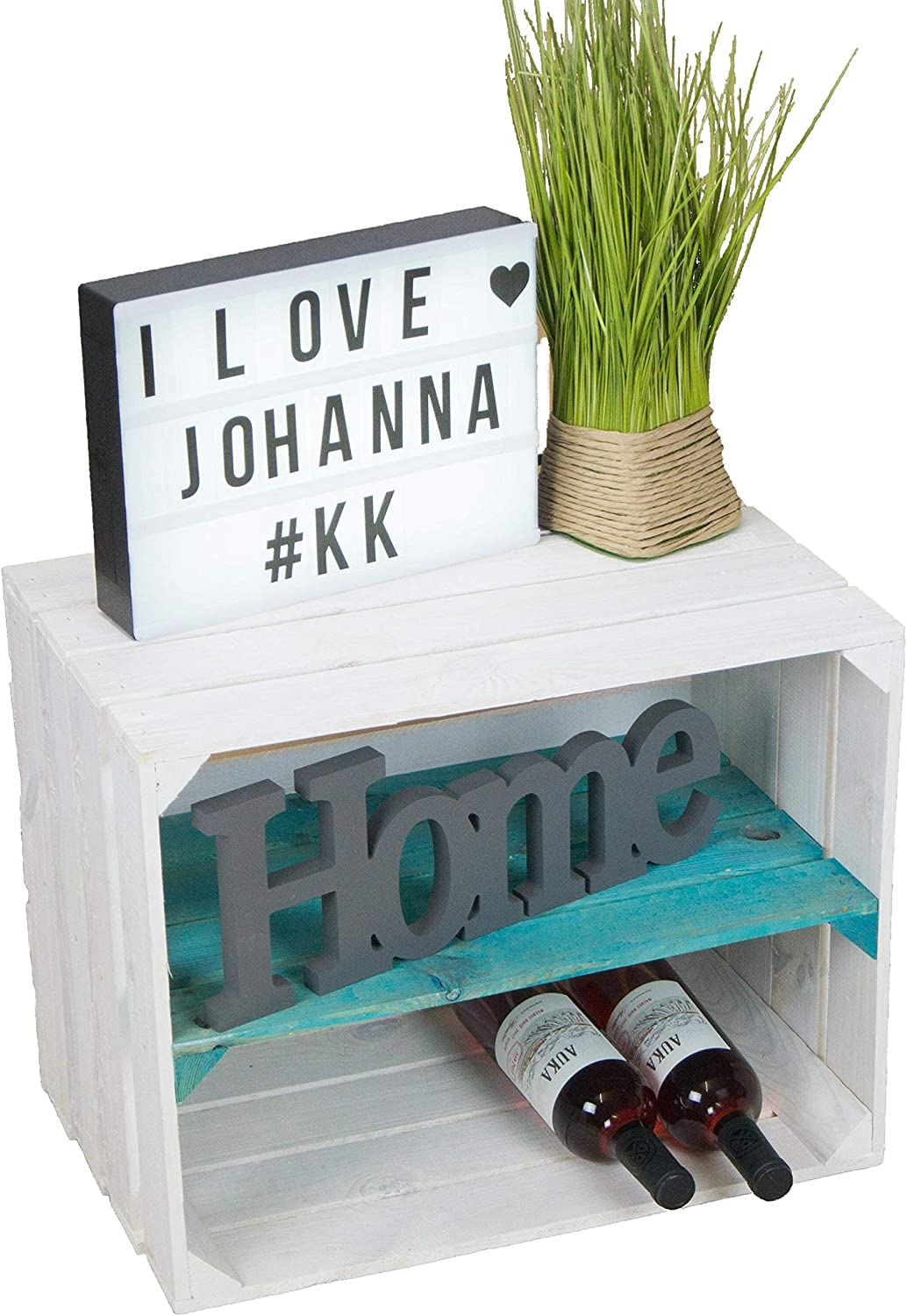 Kistenkolli Johanna Caisse /à vin en Bois lasur/é avec Planche longitudinale Turquoise 50 x 40 x 30 cm