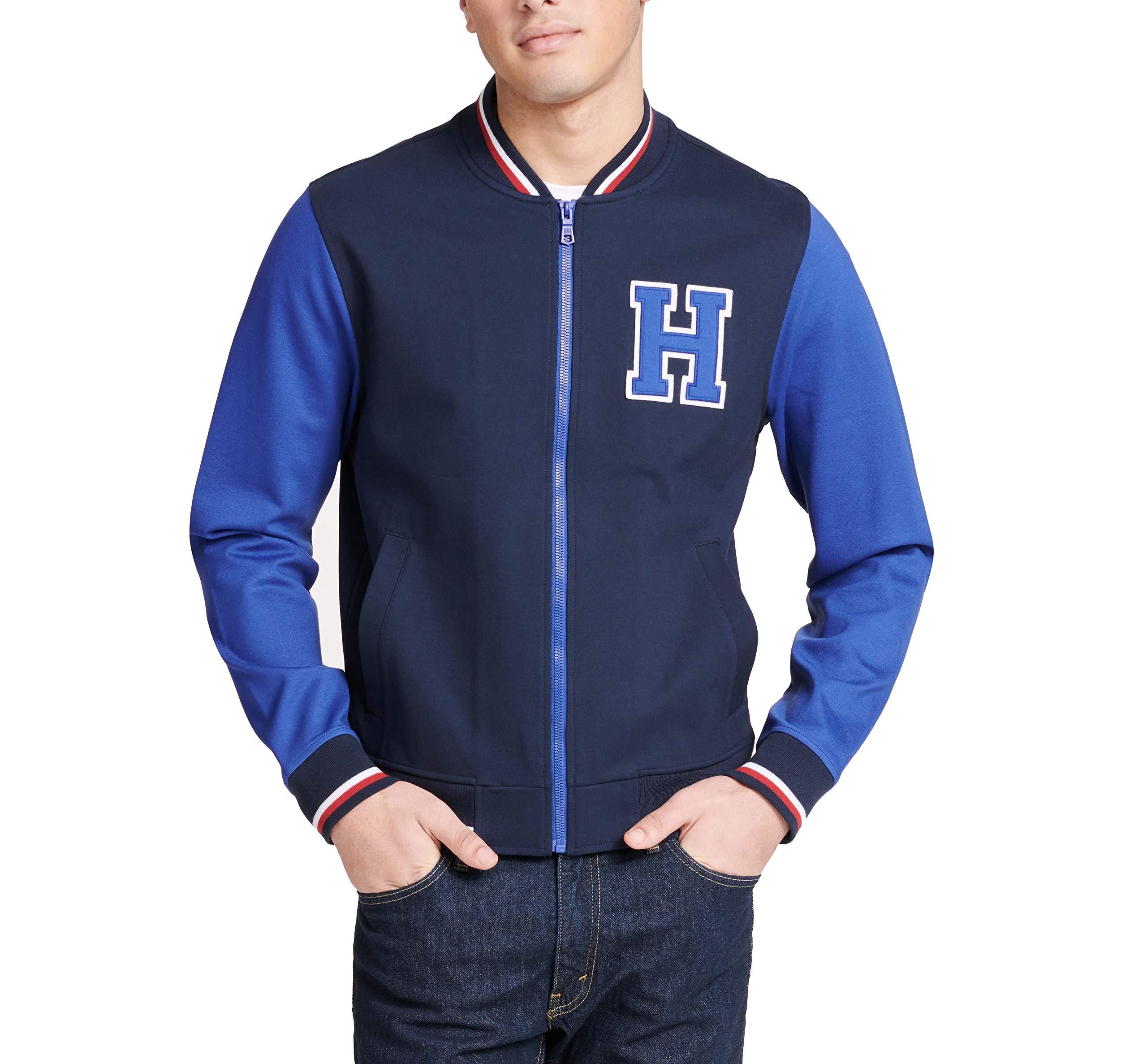 Tommy Hilfiger Men's Retro Varsity Bomber Colorblock Track Jacket, navy/royal blue, Large by Tommy Hilfiger