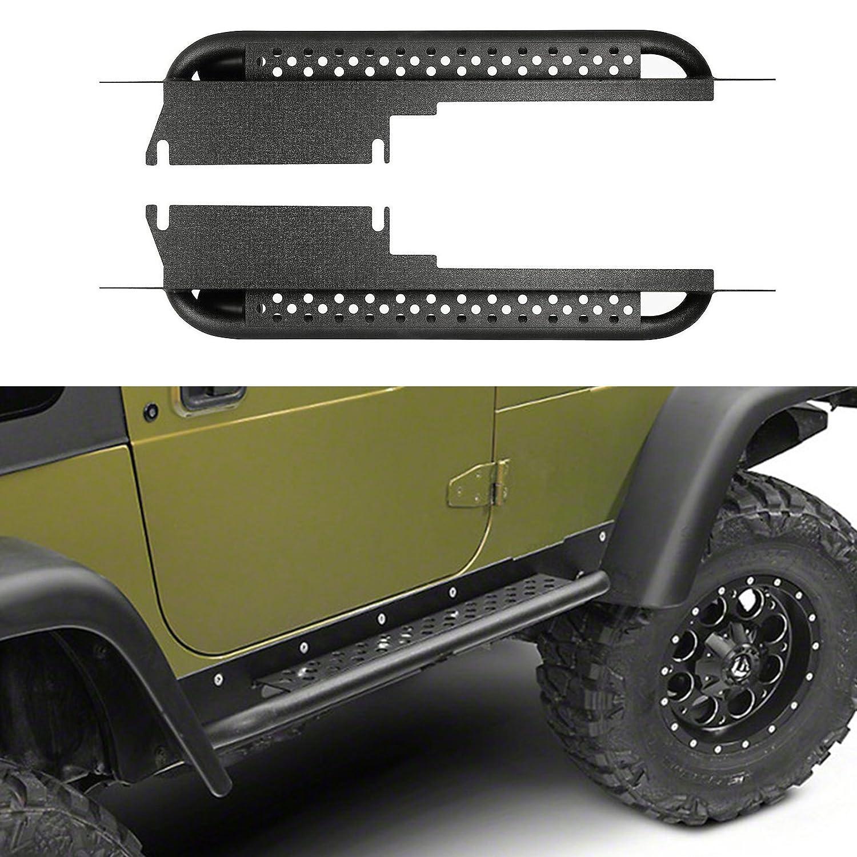 Hooke Road Jeep Wrangler TJ 97-06 Explorer Side Steps Armor Rock Sliders Nerf Bars Running Board Rail Step