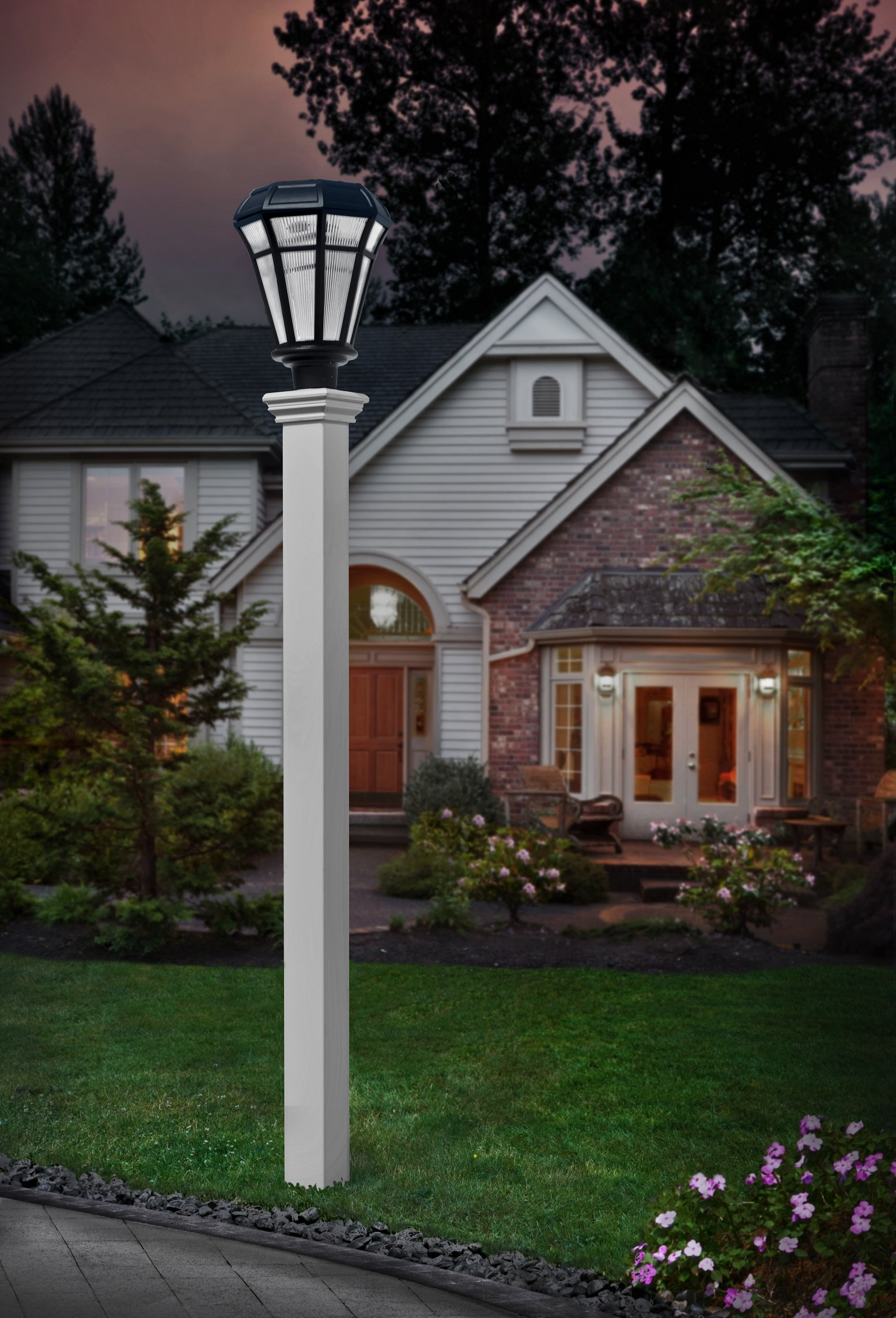 New England Arbors VA94436 Ez Mount 4'' x 4'' Lamp Post, White