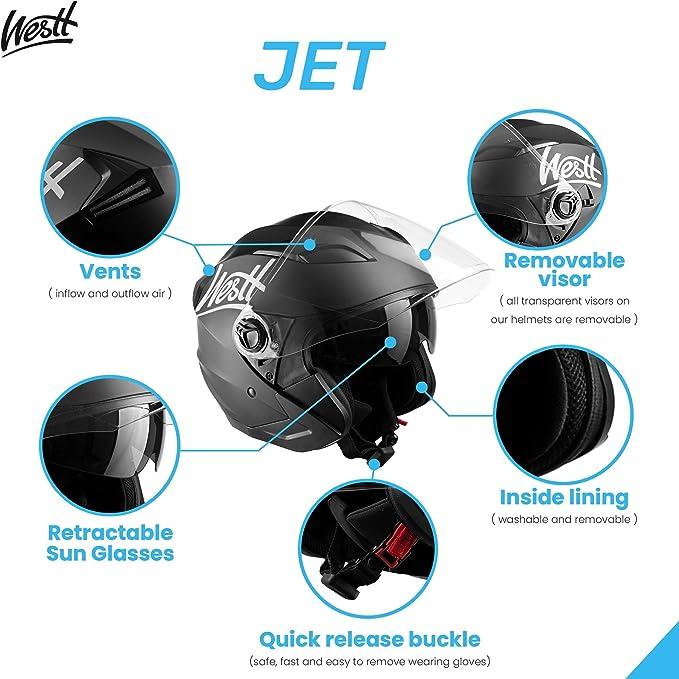 Westt Jet Motorcycle Helmet Matt Black Double Visor Helmet Scooter Ece Certified Auto
