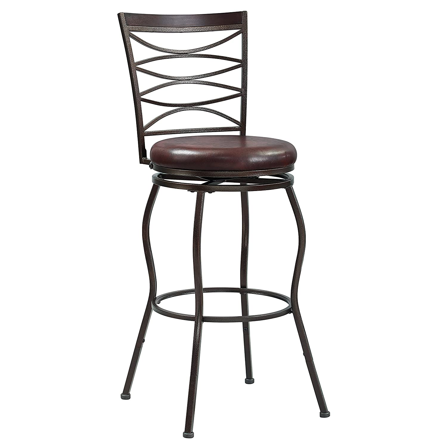 Pulaski 360 Swivel, Extending Legs Barstool, 24 to 30 H, Brown