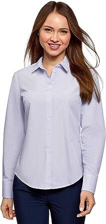 oodji Ultra Mujer Camisa Básica de Algodón, Azul, ES 44 / XL: Amazon.es: Ropa y accesorios