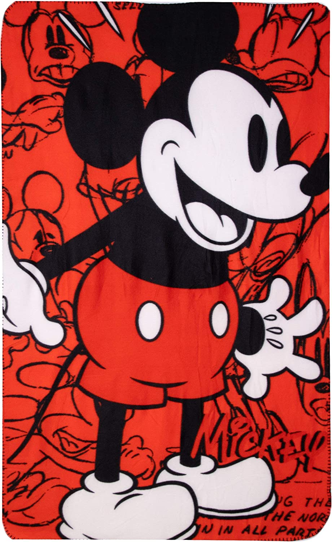 Disney - Manta polar para adultos y niños con licencia de Mickey y Minnie Mouse, suave al tacto, tela polar, tamaño grande, Forro polar, Rosa, Size 150 x 100 cm