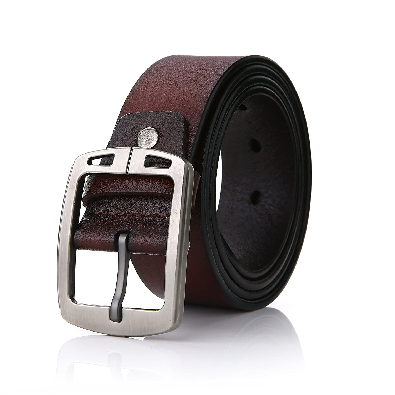 Men Belts FYDRISE Classic Genuine Leather Pin Buckle Casual Belts for Jeans or Trousers