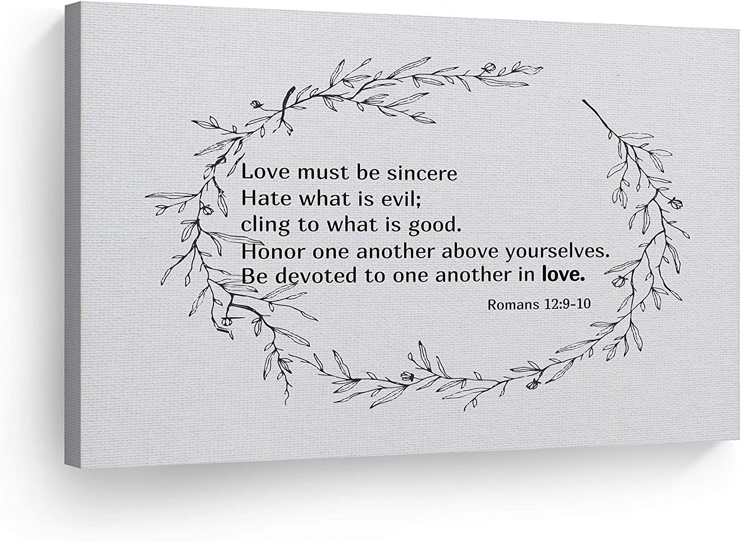 Amazon Com Smile Art Design Romans 12 9 10 Love Must Be Sincere Quote Scripture Wall Art Bible Verse Canvas Print Rustic Home Decor Ready To Hang Made In The Usa 8x12 Posters Prints