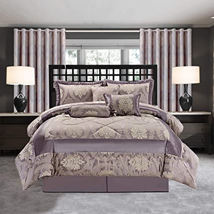 IR Bedspread 7 Piece Bedding Sets Jacquard Quilted Bed Throw Comforter Set  Ring top Curtains Fully Lined Ring Top Curtain for Bedroom (Betty Mauve, ...