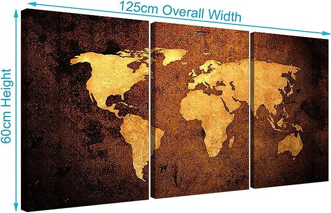 Cuadro de pared Wallfillers® de 3 piezas sobre lienzo, diseño de mapa del mundo vintage: Amazon.es: Hogar