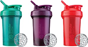 BlenderBottle Classic V2 20-Ounce Shaker Bottle, 3-Pack: Red, Green, and Plum