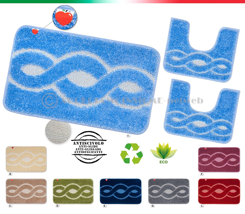 SET tappeti bagno shaggy PARURE 3 PEZZI morbidi retro antiscivolo moderni mod.ERMES (AZZURRO (T)) EMMEVI