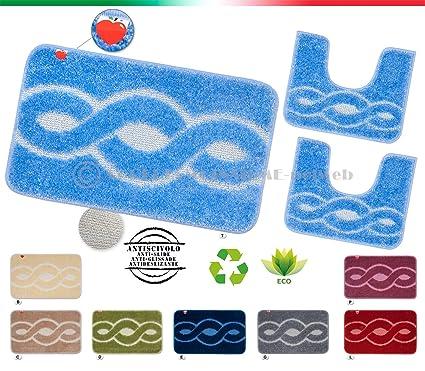 SET tappeti bagno shaggy PARURE 3 PEZZI morbidi retro antiscivolo ...