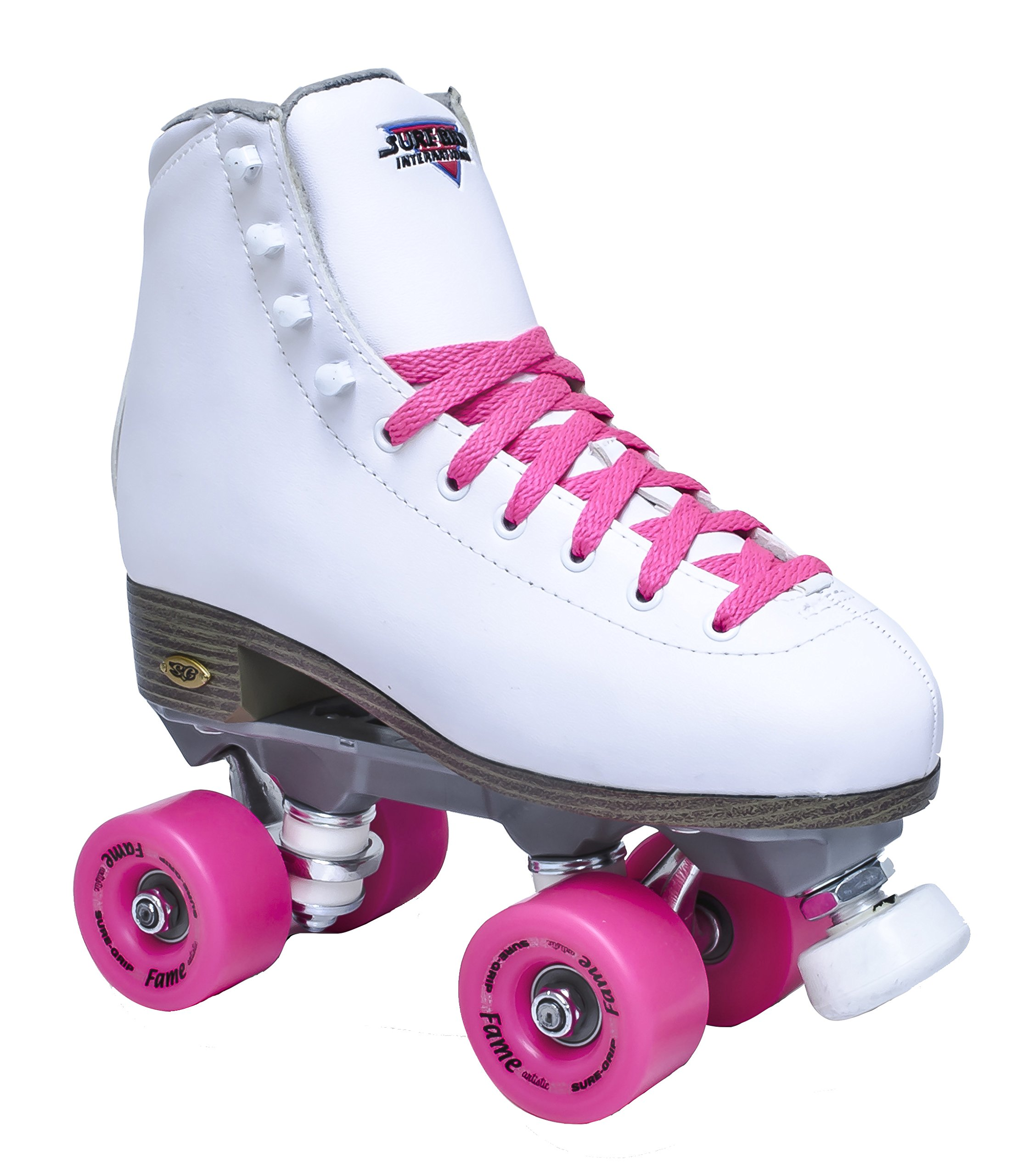 Sure-Grip White Fame Roller Skates with Pink Wheels (Womens Sz 4) by Sure-Grip