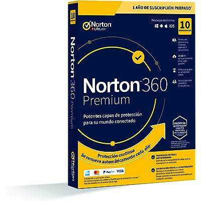 Norton 360 Premium 2020 Symantec - Antivirus software para 10 Dispositivos y 1 año de suscripción con renovación automática, Secure VPN y Gestor de contraseñas, para PC, Mac tableta y smartphone