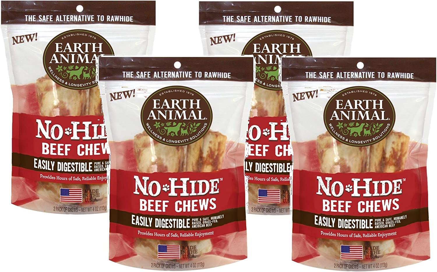 Earth Animal No Hide Beef Chews, 4 Inches, Rawhide Alternative Dog Treats