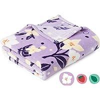 "Snuggle Sniff Night Jasmine Fleece Kids Blanket - Super Soft Blanket with Cute Floral Pattern - Fun Plush Blanket for Girls Gift for Kids - Throw 50"" x 60"", Jasmine Purple"