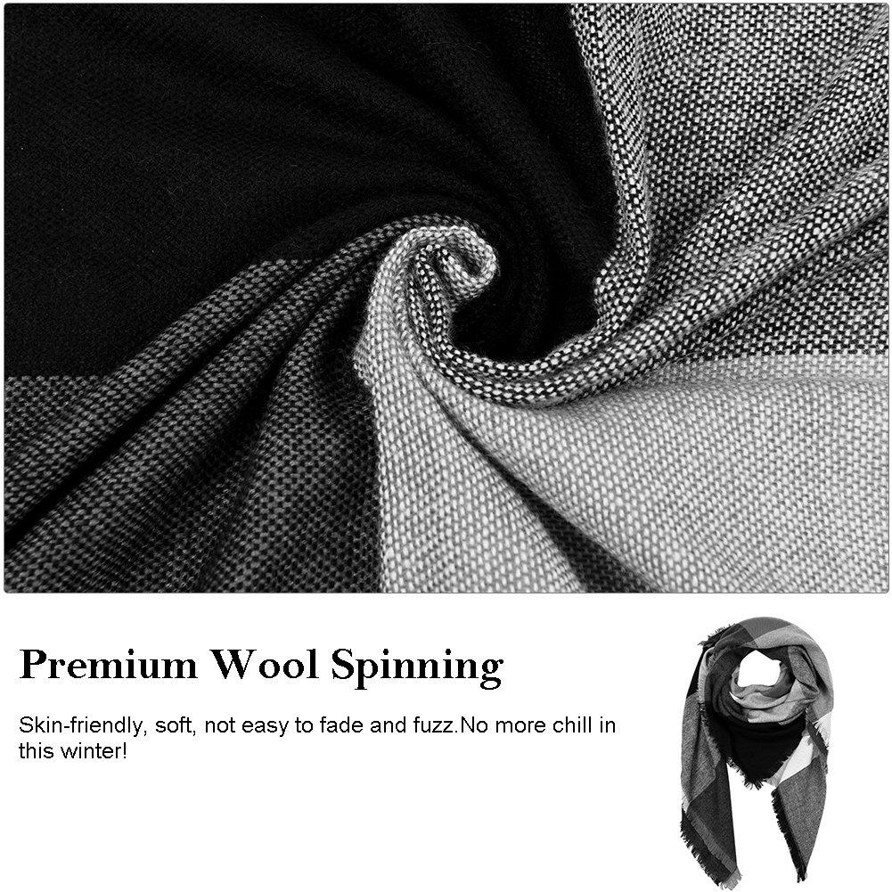 VBIGER Women Stylish Blanket Plaid Scarf Oversized Tartan Scarf Checked Shawls Wrap Shawl Cozy Checked Pashmina (Black Gray)