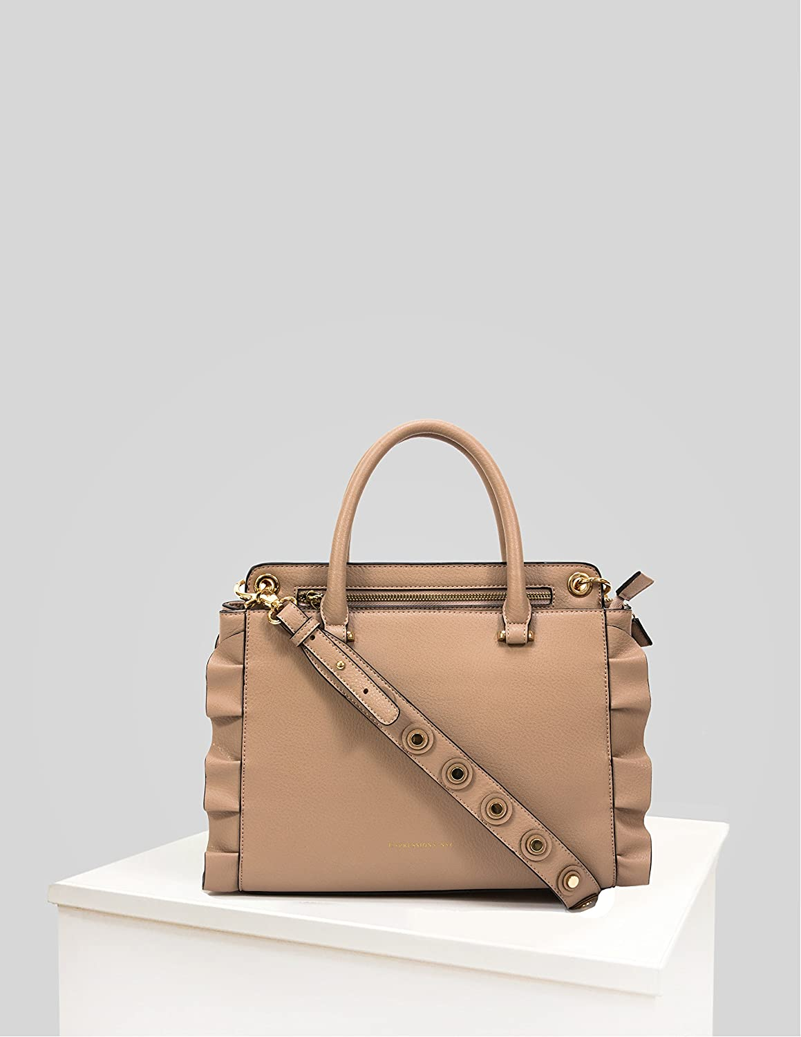 EXPRESSIONS NYC 5TH AVE CAMEL SATCHEL WITH RUFFLES: Amazon ca: Shoes