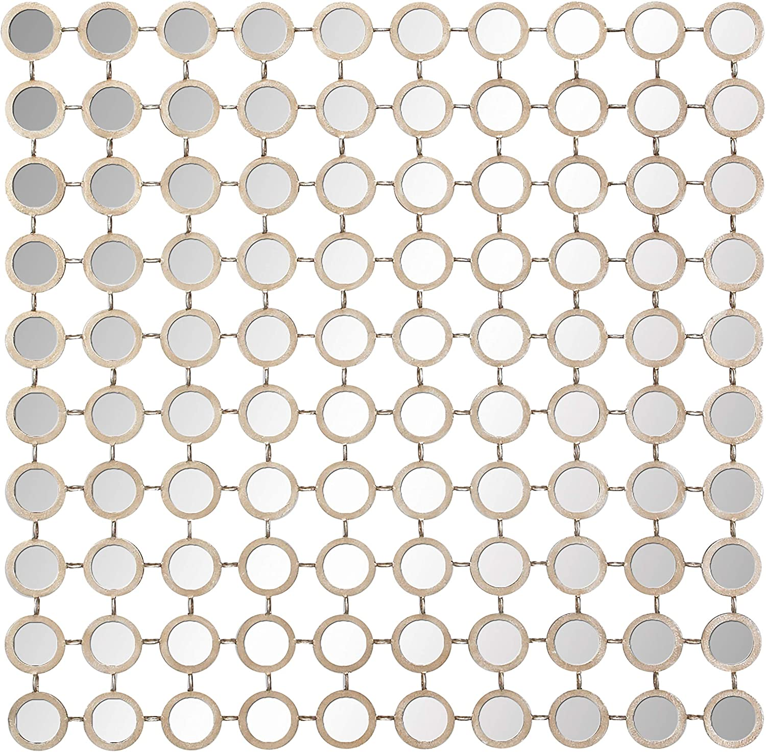 """Deco 79 64109 Modern Style Large Square Wall Mirror with Round Gold Metal Mirror Grid, Gold Mirror Wall Decor, Contemporary Wall Mirror, Accent Decor   39"""" x 39"""", Silver"""
