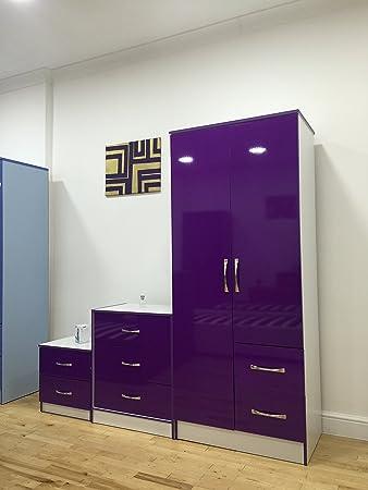 MARINA ULTRA HIGH GLOSS QUALITY PIECE TRIO BEDROOM FURNITURE - Purple high gloss bedroom furniture