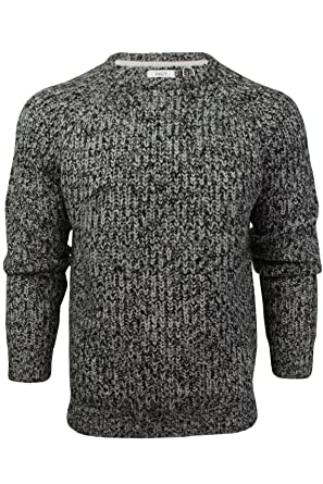 Xact Mens Jumper Fashion Chunky Fisherman Fleck Knit Long Sleeve