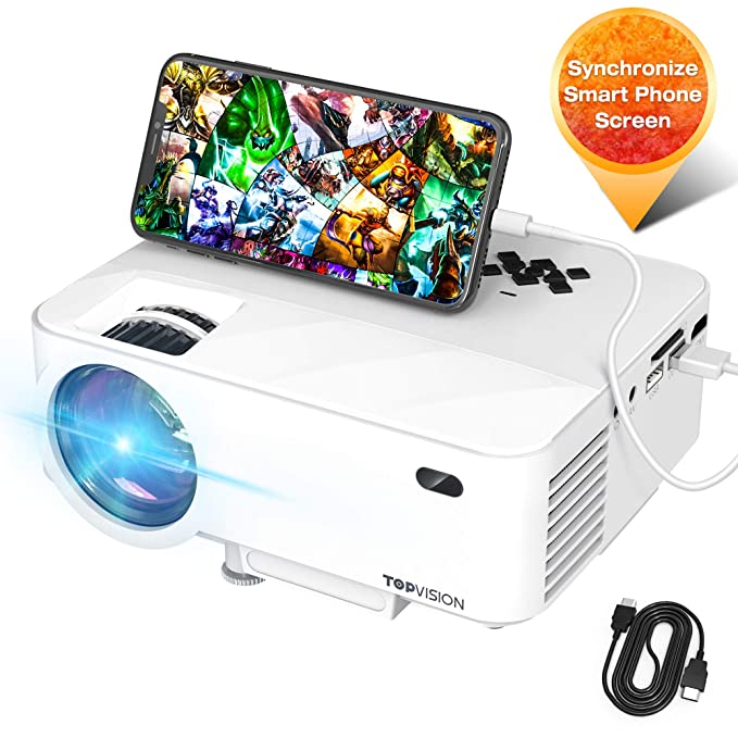 "Mini Projector, TOPVISION Video Projector with Synchronize Smart Phone Screen, 1080P Supported, 176"" Display, 50,000 Hours Led, Compatible with Fire Stick,HDMI,VGA,USB,TV,Box,Laptop,DVD"