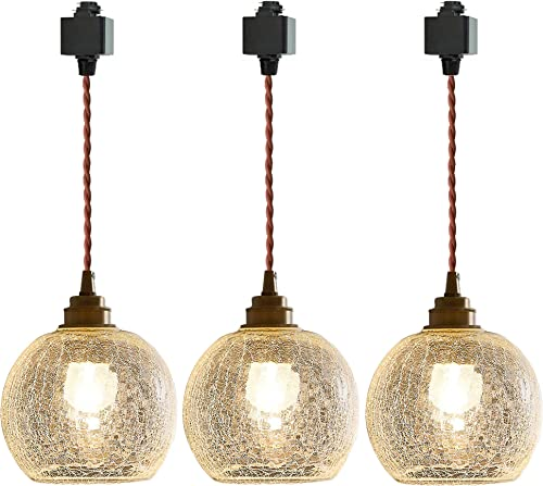 SKIVTGLAMP Dimmable Crack Glass Pendant Light H-Type Track Light Pendants 3.2 ft Cord Brass Finished E26 Socket Decorate Industrial Hanging Lamp