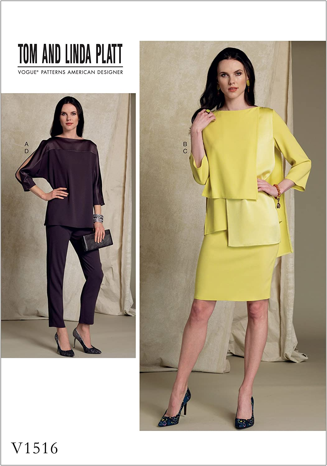 Vogue Patterns Misses' Batwing Or Layered Overlay Tops, Pencil Skirt And  Pants, 12 12 12 12 12, Orange
