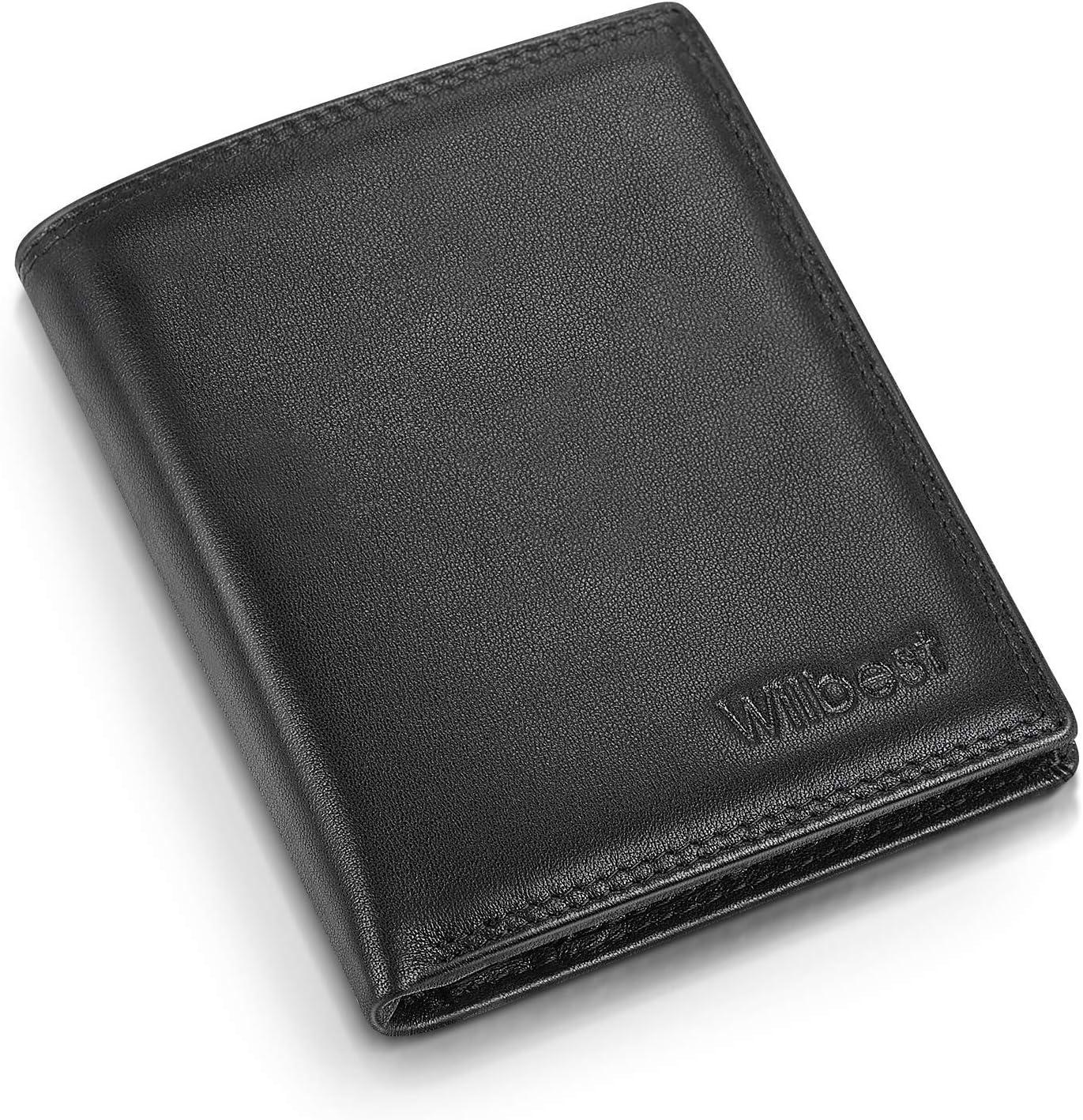 wilbest® Carteras para Hombre, Cartera Hombre con RFID Bloqueo, Cuero de Napa Billeteras Hombre Piel con 17 Compartimentos para Billeteras/ID/Tarjetas/Monedas, Muestra de Cuero & Manual (Negro)