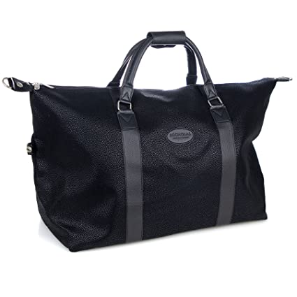 f6dfdd6236db Nicholas Winter Mens Travel Bag - Large 60L Capacity - Classic Holdall  Style in Black  Amazon.co.uk  Kitchen   Home