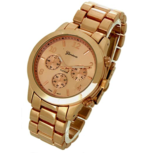 Geneva Platinum ceramic-style Rose Gold Dial reloj gp9245: Amazon.es: Relojes